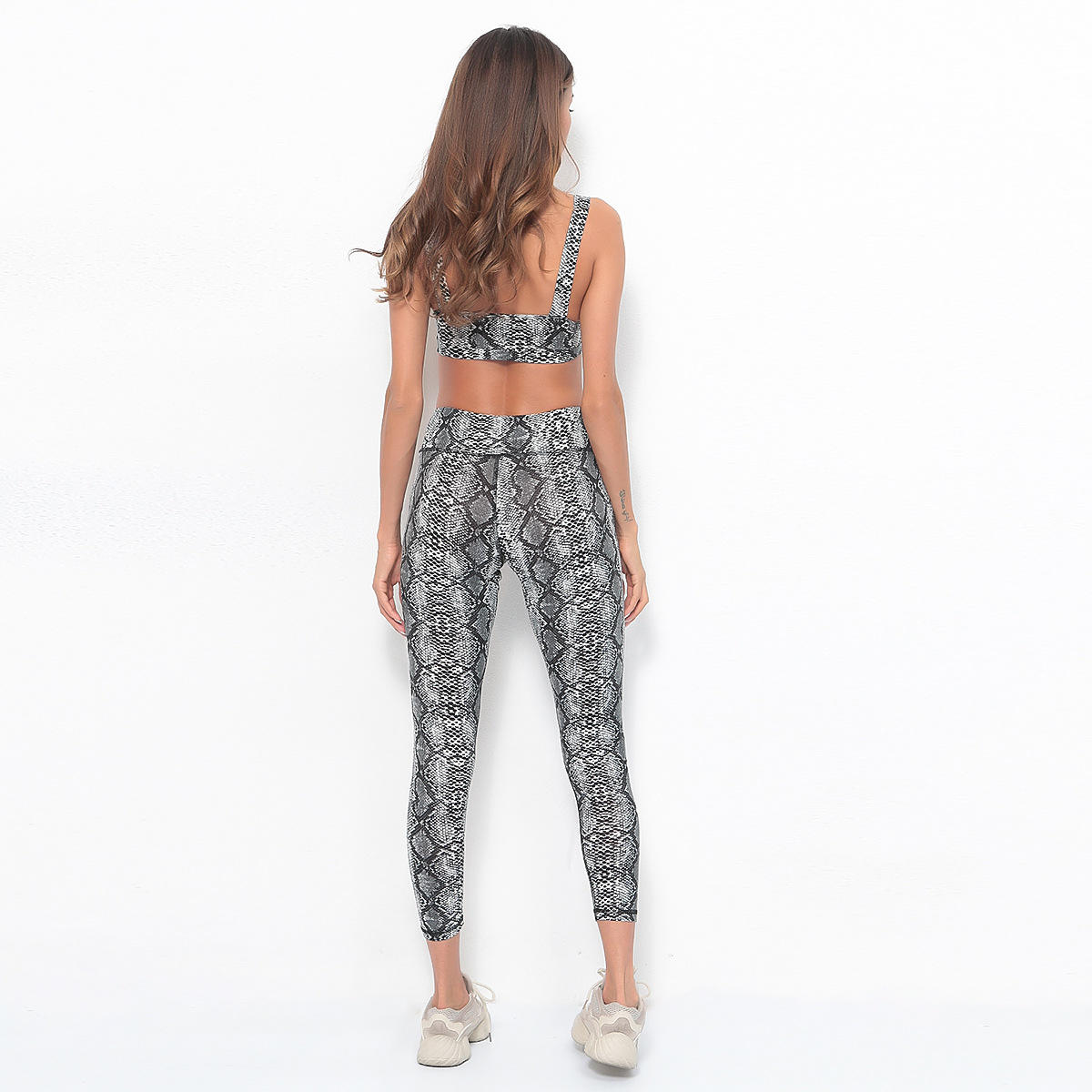 sale items summer clothes 2019 casual woman tracksuit 2 pieces sets outfits snake print jogging femme crop top and pants set in Women 39 s Sets from Women 39 s Clothing