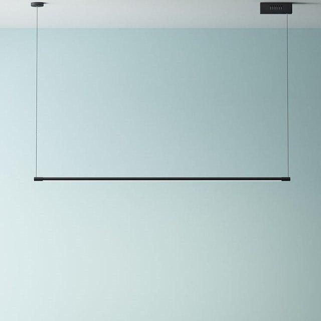 מינימליסטי LED תליון מנורות לסלון מסעדה שינה בית תליית מנורת נורדי אלומיניום שחור אמנות ארוך Pendnat אורות