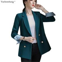 Bouble Breasted Solid Women Blazer With Pockets Female Coat Fashion bla