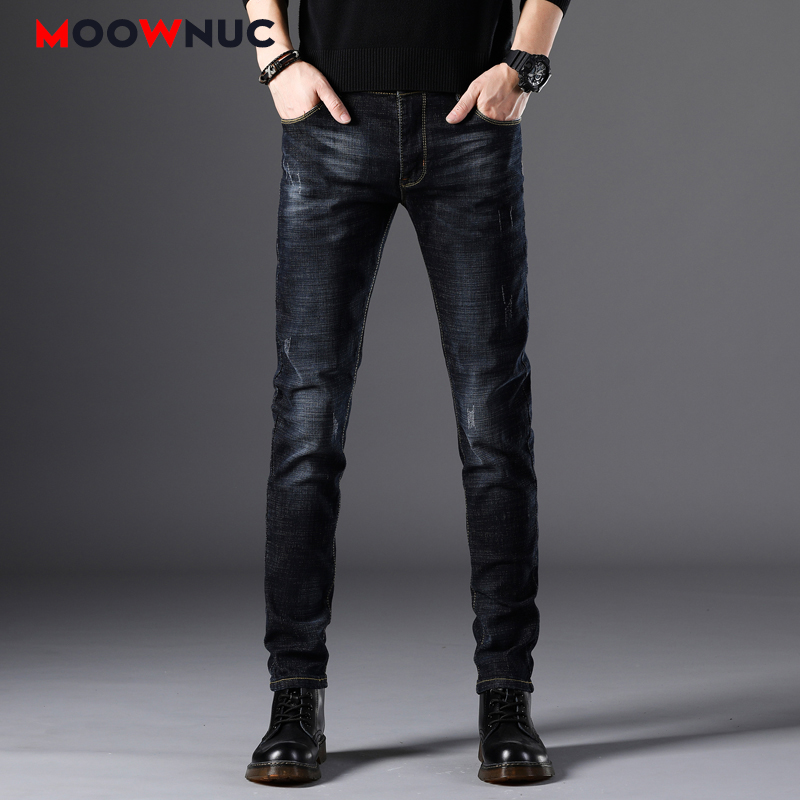 Autumn Sweatpants Streetwear Jeans Male Trousers MOOWNUC Pants Classic Skinny Denim Jeans For Men Slim Designer Casual Straight
