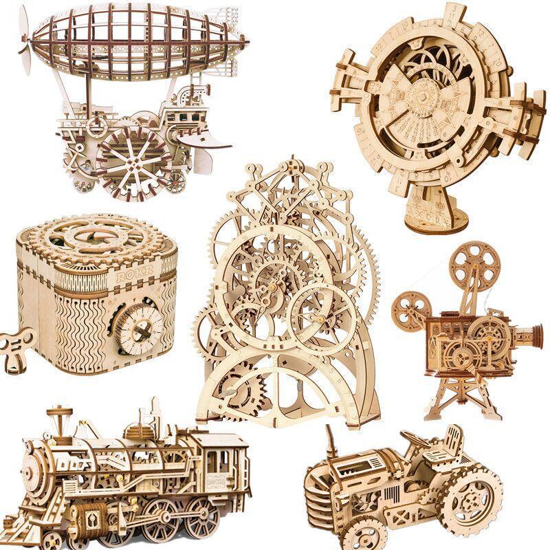 En bois 3d en trois dimensions puzzle locomotive dirigeable tracteur enfants adultes jouets éducatifs puzzle jouet