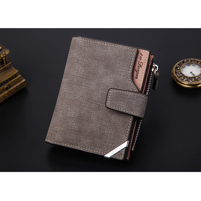 H64c9710aa9a849d7915c794a38311c80H - New Business men's wallet Short vertical Male Coin Purse casual multi-function card Holders bag zipper buckle triangle folding