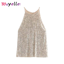 Summer Sequin Tops Women Elegant Halter Party Club Wear Womens Blouses and Sleeveless Shirt Sequined Shiny