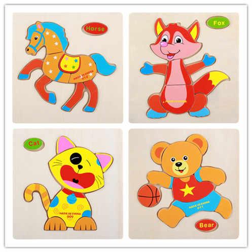 De madera de 3D rompecabezas caballo Sika ciervo rompecabezas de dibujos de animal de Madera Juguetes para los niños de aprendizaje educativos del bebé juguetes para bebés rompecabezas
