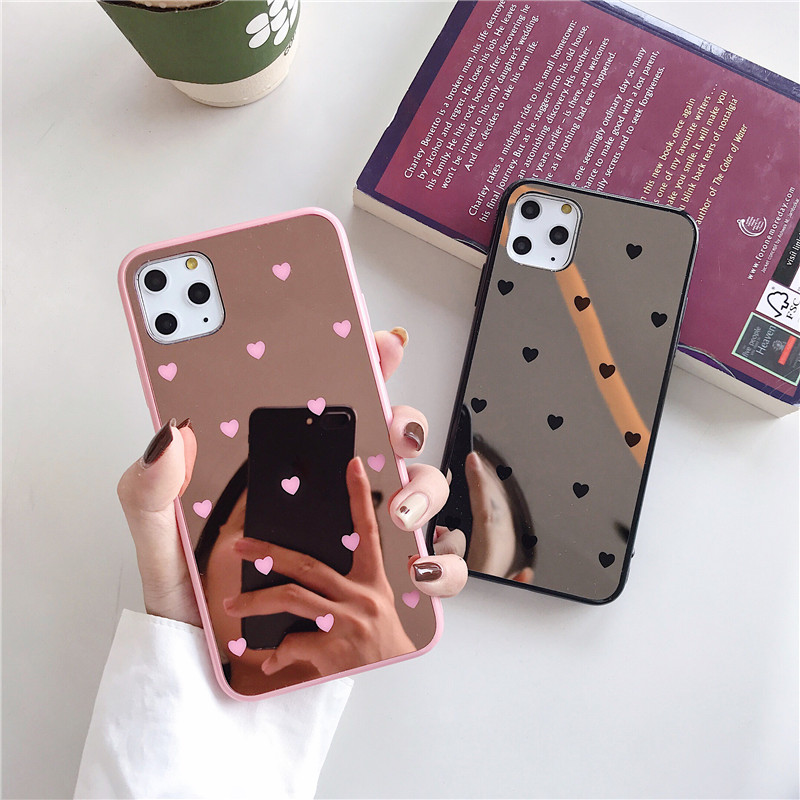 Luxury Make Up Mirror Small Love <font><b>Heart</b></font> Phone <font><b>Case</b></font> For <font><b>iPhone</b></font> 11 Pro Max XS MAX XR X 8 7 Plus 6 <font><b>6s</b></font> Plus <font><b>Case</b></font> Back Cover Fundas image