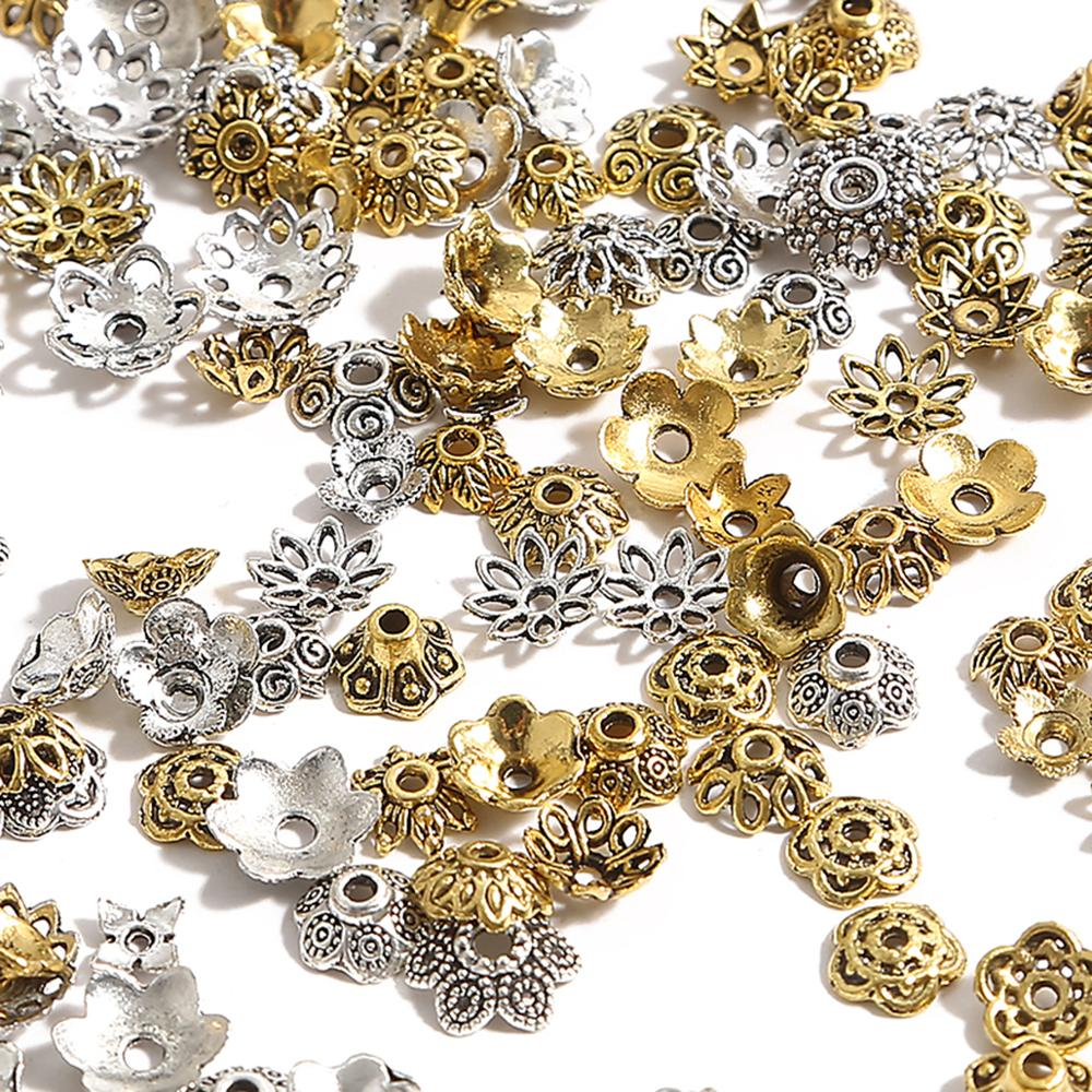 50pcs Tibetan Antique Silver Color Gold Leaf Flower Bead End Caps For Jewelry Making Needlework Spacer Bead Caps DIY Accessories