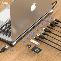 HOCO-concentrador de red USB tipo C para Macbook Air, HUB compatible con HDMI, VGA, RJ45, puertos múltiples, USB 3,0, USBC, tipo C, PD Power