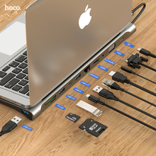 Hoco Usb C Hub Type C Voor Macbook Pro Air Usb C Type C Hub Naar Hdmi Vga RJ45 Multi poorten Usb 3.0 Usbc Type-C Hub Pd Power Adapter