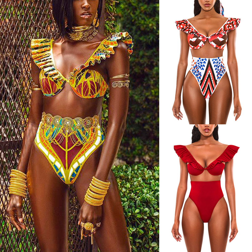 2020 New Design Split Bathing Suit Women African Print Biquini Push-Up Padded Underwear Set Hot Sexy Lengerie Female Intimates