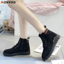Winter Boots Women Fashion Black Shoes Woman Ankle Boots for Women Comfortable Non-slip Lace-Up Snow Boots Flat Platform Boots women martin boots black ankle short boots lace up flat boots woman