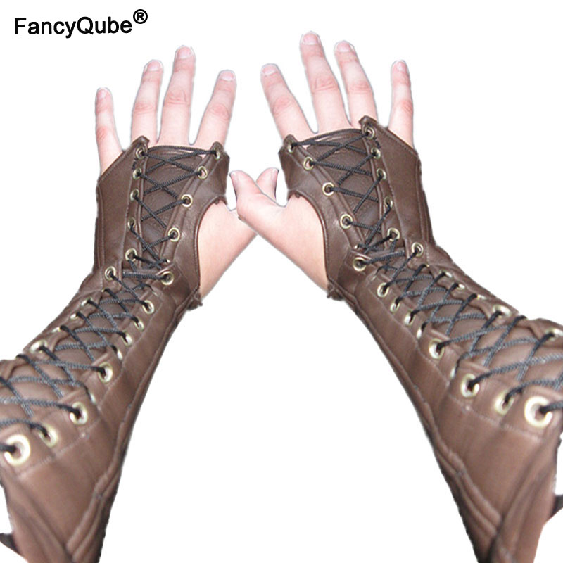 Leather Bracer Fingerless Long Gloves Lace Up Cuffs Medieval Armor Steampunk Gauntlet Archer Costume Arm Accessory For Men Women