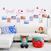 Beautiful Photo Frame Family Quotes Wall Stickers Living Room Decor Diy Home Decals Art Posters Adesivos De Paredes Paper(China)