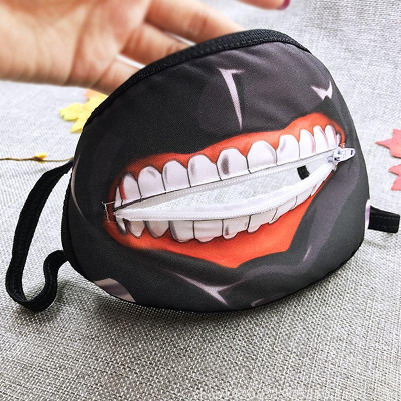 New Unisex Anime Anti Dust Mouth Mask Cartoon Zipper Teeth Print Cosplay Respirator