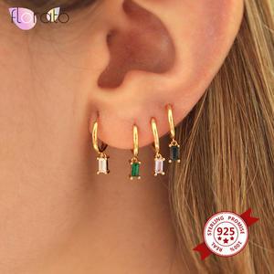 Hoop-Earrings Jewelry 925-Sterling-Silver Colorful Women Zircon Minimalist Real for Round