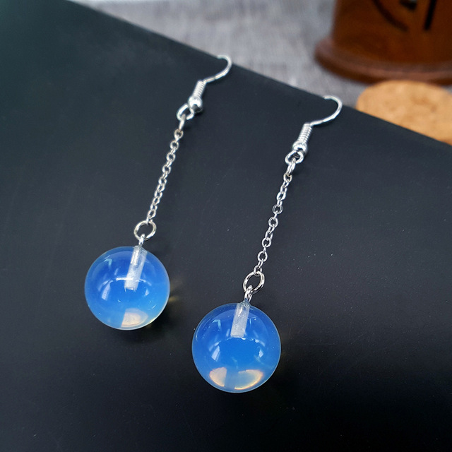 Natural stone long drop shape star sun moon alloy opal earrings men and women party banquet clothing matching accessories