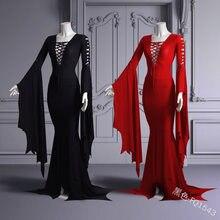 5XL büyük boy Cos Morticia Addams kat elbise kostüm yetişkin kadınlar gotik cadı Vintage seksi Hollow Lace Up ince cüppeli elbiseler
