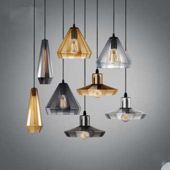 Scandinavian pendant lamp made of colored amber glass and gray, modern home decorative pendant lamp for the kitchen, living room