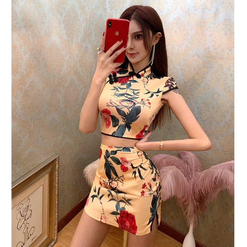 2020 Chinese Party Dress Qipao Set Top+dress Bodycon Gothic Satin Dress Cheongsam Mandarin Collar Short Sleeve Vestidos