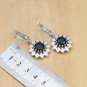 Image 4 - Siyah taş beyaz CZ takı setleri 925 gümüş gelin takı kadınlar için parti küpe/kolye/yüzük/bilezik/Kolye seti