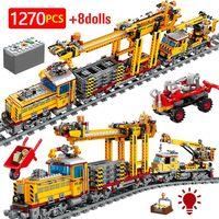 Bloques de construcción de tren eléctrico de ciudad para niños, Creator de riel mecánico Trai, figuras de carro, juguetes de regalo