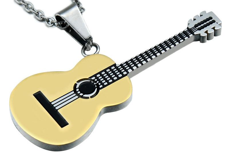 Stainless <font><b>Steel</b></font> <font><b>Guitar</b></font> Pendant <font><b>Guitar</b></font> Music <font><b>Necklace</b></font> Rock Hip hop <font><b>Titanium</b></font> <font><b>Steel</b></font> <font><b>Necklace</b></font> image