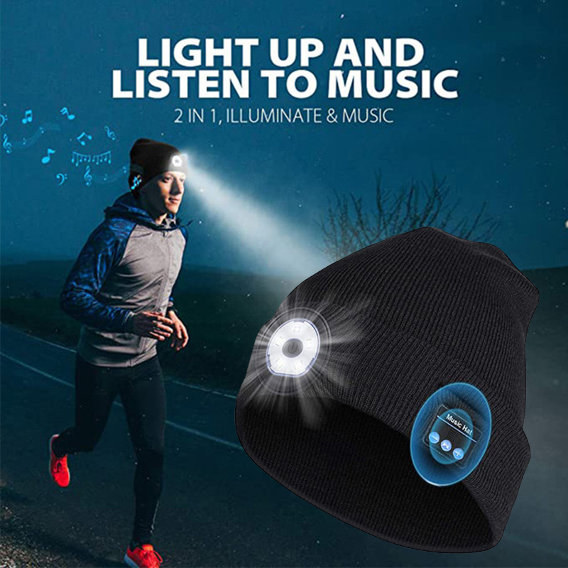 Wholesale Bluetooth LED Beanie Hat Built-in Stereo USB Rechargeable LED Lighted Knit Cap Unisex Gifts for Men Women NOV99