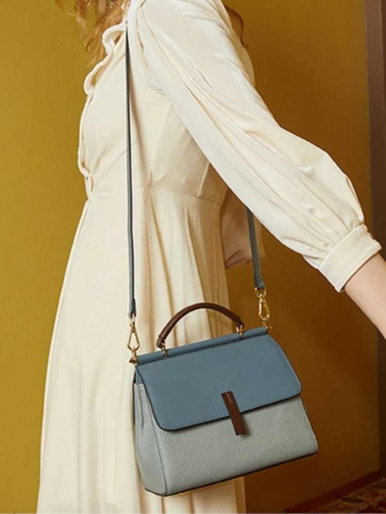BISONJS Women Bags Messenger-Bag Patchwork Large-Capacity Female Designer Genuine-Leather