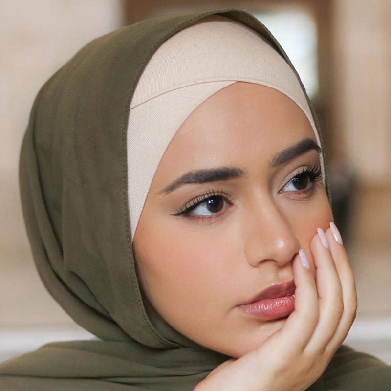 Женский хлопковый шарф Шапка-тюрбан femme musulman готов носить хиджаб шапка женский головной платок капот мусульманские внутренние хиджабы