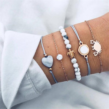 Hello Miss Fashion alloy small turtle crab bracelet hand-woven 5 piece set womens jewelry gift