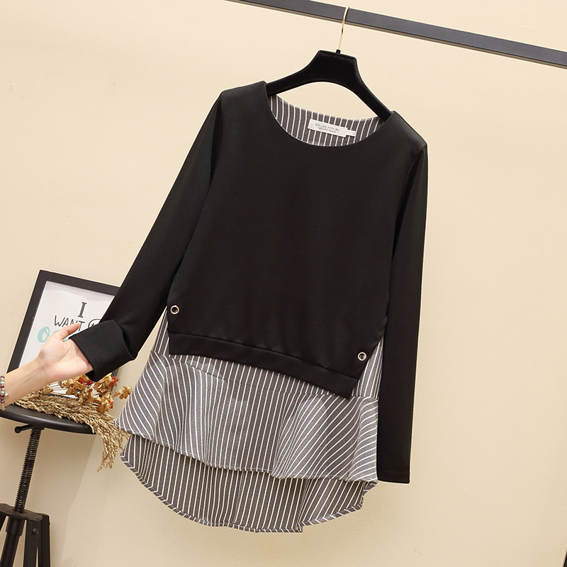 Fat Mm 2018 Autumn Clothing Plus-sized Korean-style Extra Large Younger Fashion Stripes Joint Slimming Tops