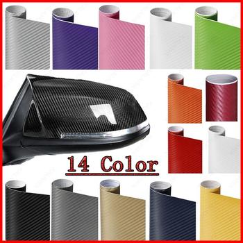 30x127cm 3D Carbon Fiber Vinyl Car Wrap Sheet Roll Film Car Sticker Motorcycle Car Styling Black White Silver 10cm Tube