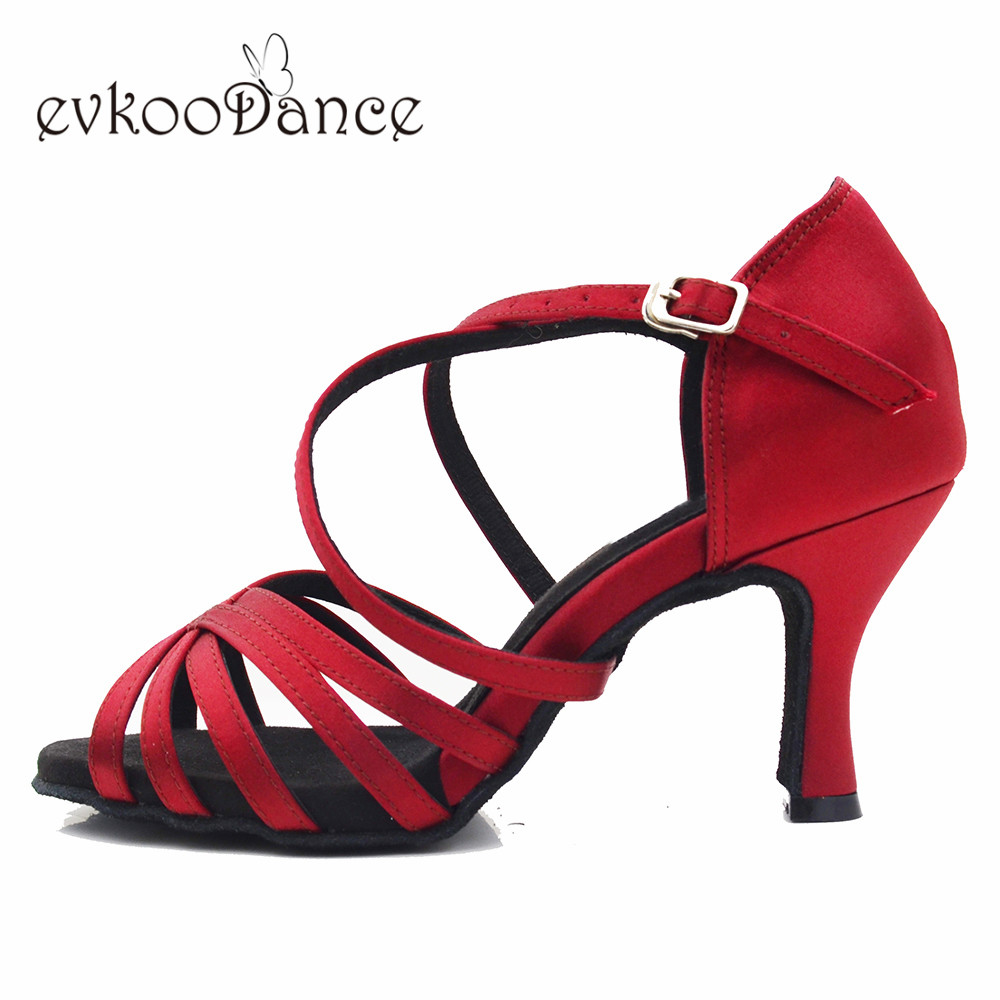 Red Wine Dancing Shoes Zapatos De Baile  Satin Latin Dance Shoes Size US 4-12 Heel Height 7cm  For Women NL319