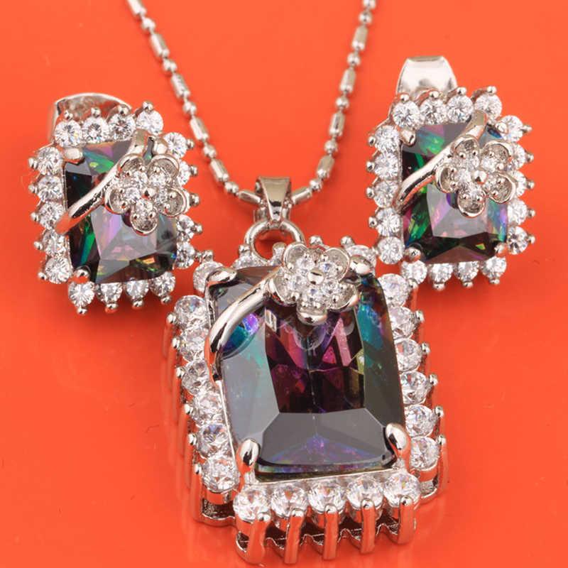 Dijual Rainbow Ungu Silver) Argent Set Perhiasan Anting-Anting Kalung Liontin S8281