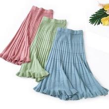 Wasteheart Autumn Winter Blue Green Women Skirts Fashion Womens High Waist Mid-Calf Skirt Clothing Knitting Long Wool