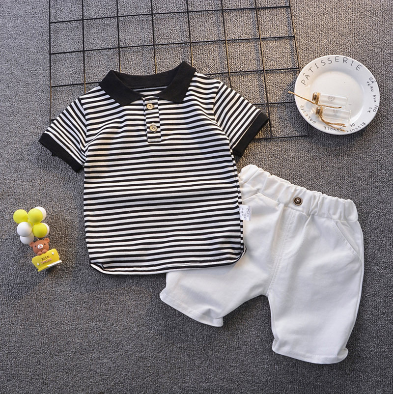 Summer Baby Boys Clothing Turn-down Top + White Shorts 2 Pieces/Set 1-5 Years Kids Clothes Black&White Striped T-Shirt