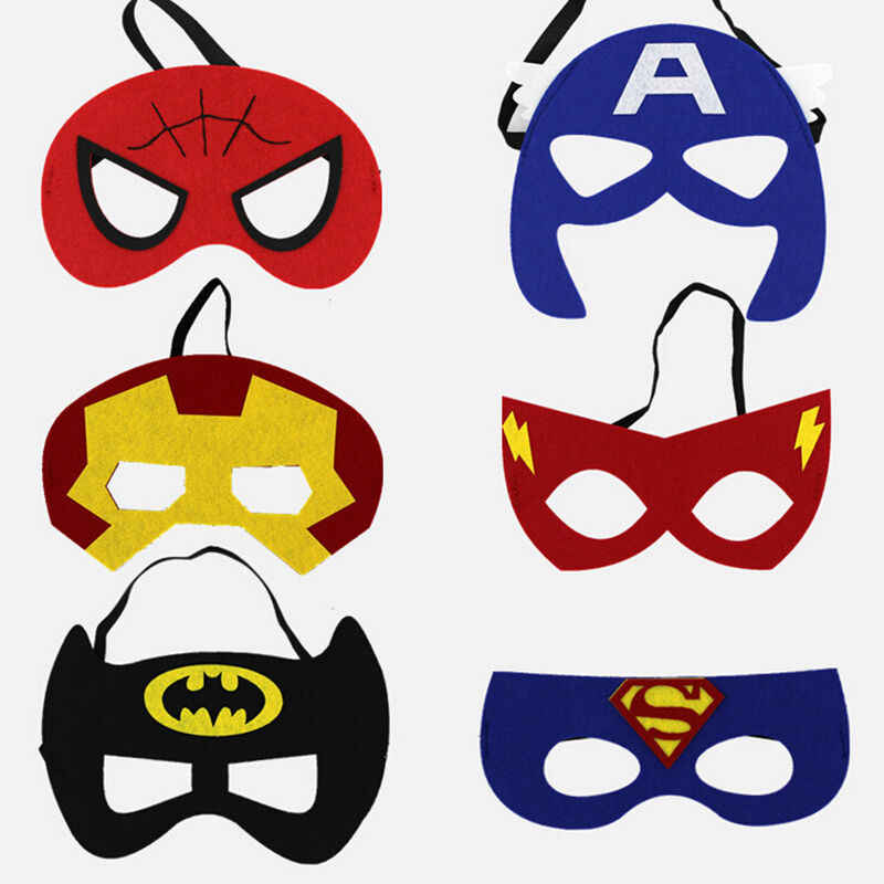 Panas Anak Laki-laki Anak Perempuan Pahlawan Super Masker Mata Indah Superman Batman Hulk Flash Cosplay Pesta Hallowmas Anak Pesta Masker