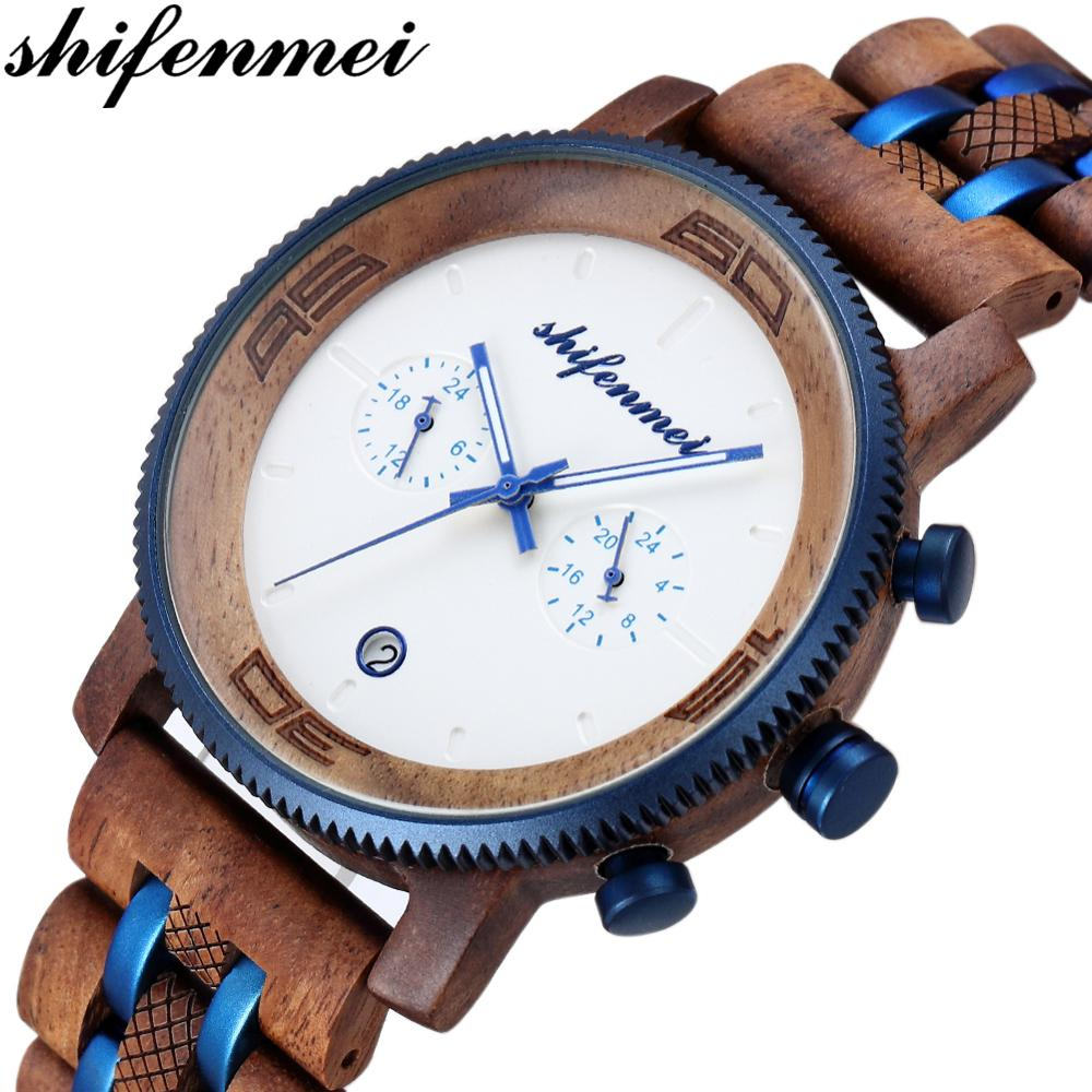 Shifenmei Wooden Watches Mens 2019 Military Quartz Watch Top Luxury Brand Men Business Watches Chronograph Sports Clock Male