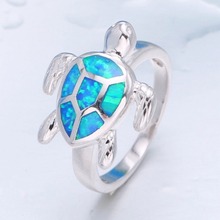 Fashion Jewelry Cute Turtle Imitation Blue Fire Opal Animal Ring For Women Accessories Lady Wedding Party Ring Girl Gift bella fashion lovely crown frog animal party ring green enamel open ring gold tone for women girl party daily jewelry gift
