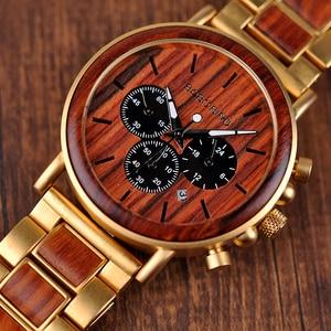 Image 2 - BOBO BIRD Men Watches Stopwatch relojes hombre Wooden Wristwatches Male Show Date erkek kol saati in Gifts Box USA warehouse