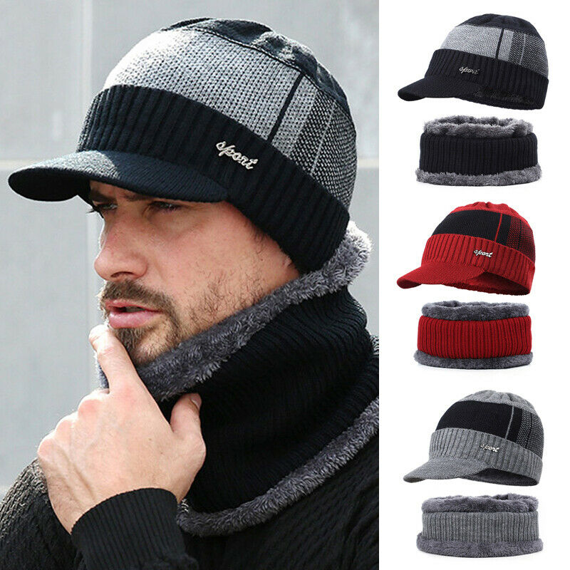 2020 Winter Warm Hat Knit Visor Beanie 2pc Set Fleece Lined Beanie With Brim Cap Hat Scarf Set Warm Knitted Skull Cap With Scarf