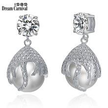 Boucles d'oreilles pendantes de luxe pour femmes, couleur Rhodium, élégantes, perle, bijoux de mariage, WE4030
