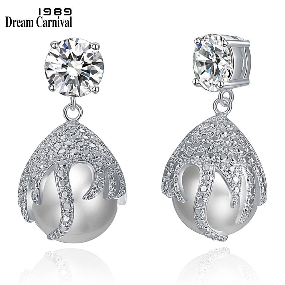 DreamCarnival1989-boucles doreilles pour femmes de luxe, bijou boucle doreille pour femme, couleur rhodiée, pendentif en perles de mariage, bijou élégant, WE4030