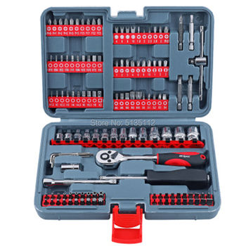 126pc/Set Mechanics Car Hand Tool Set Ratchet Wrench Socket Set for Auto Motorcycle Repair with Plastic Toolbox Storage Case Hand Tool Sets
