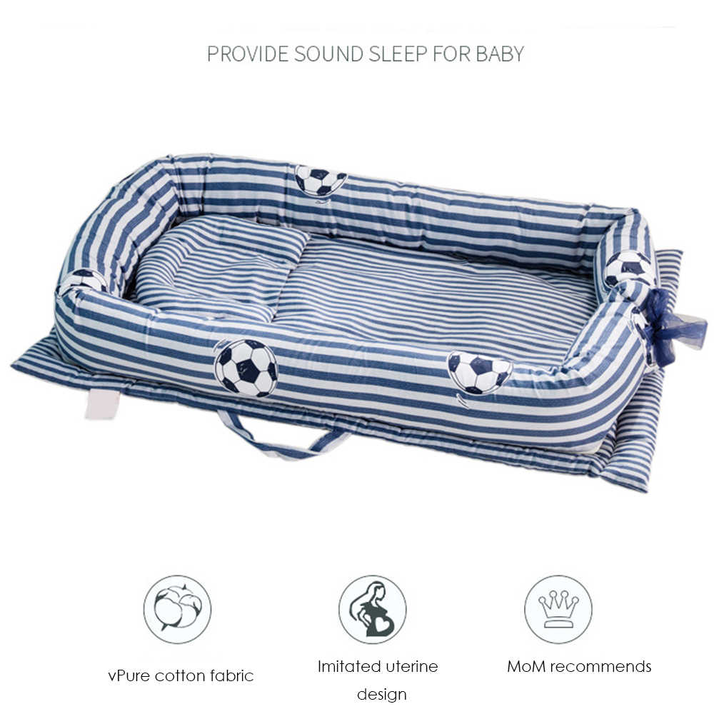 Baby Crib Folding Portable Children's Cotton Cradle Newborns Traveling Cots Striped Printed Child Lounger Bed Infant Playpen Bed