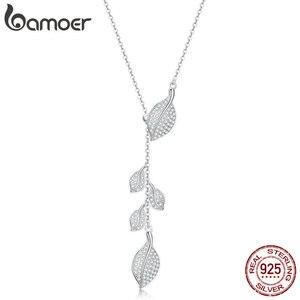 Image 1 - Женское Ожерелье в форме листа bamoer, свадебное ожерелье из серебра 925 пробы с прозрачным кубическим цирконием, BSN075