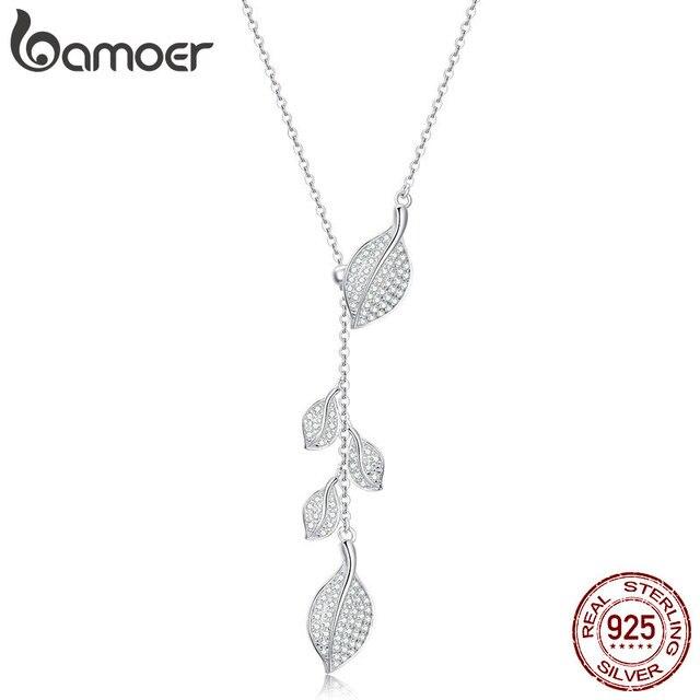 Женское Ожерелье в форме листа bamoer, свадебное ожерелье из серебра 925 пробы с прозрачным кубическим цирконием, BSN075