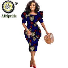 African Ankara Dresses for Women Dashiki Dress Bodycon Dress Print Wax Batik Short Sleeve Party Midi Dress for Lady S2025060