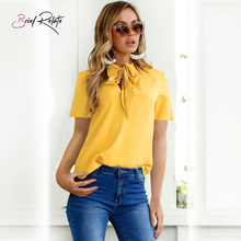 Brief Relate Autumn Trumpet Sleeve Tie Chiffon Long Sleeve Flare Sleeve Shirt Top T-Shirt Shirt Women недорого
