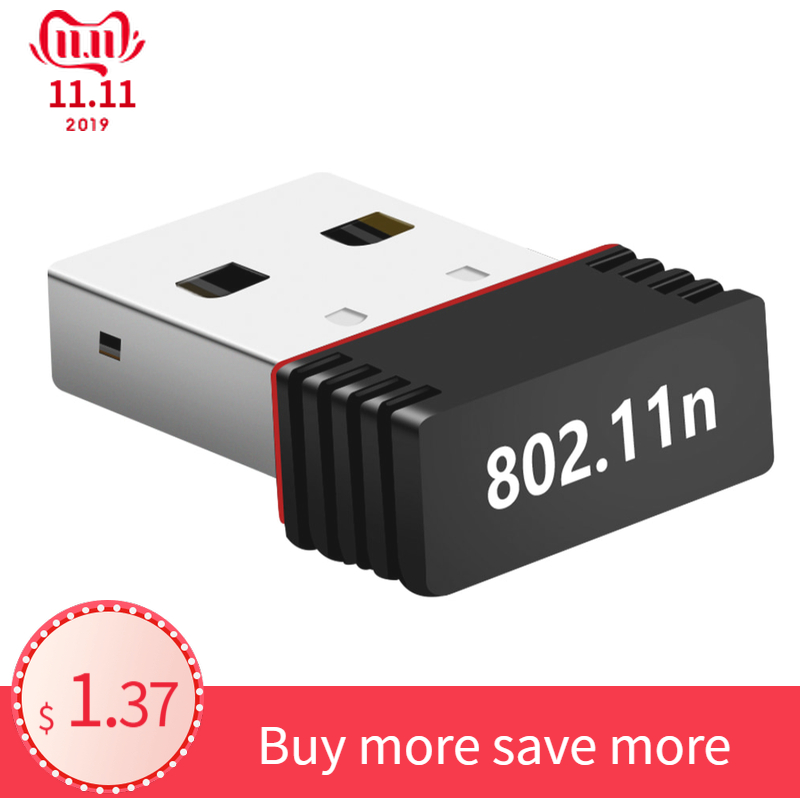 Mini 802.11n/g/b Wifi 2.4 GHz~2.4835GHz Wireless Network Adapter 150Mbps USB Dongle for Laptop PC Windows 7/10/xp/ Vista/2000 image