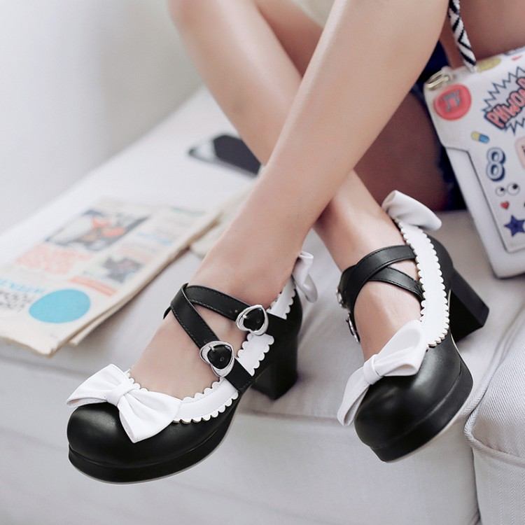 Lovely <font><b>Lolita</b></font> <font><b>Shoes</b></font> Japanese Style Sweet Anime Cosplay Bowknot Elegant Temperament High Quality Comfortable Thick Heeled <font><b>Shoes</b></font> image